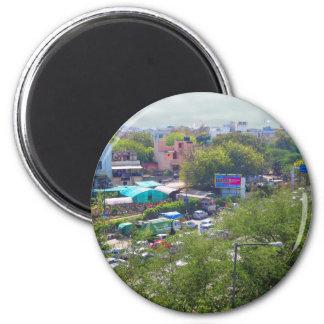 New Delhi India Traffic views from Metro Railways 6 Cm Round Magnet