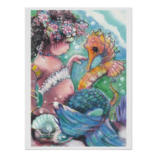 """""""New Discoveries"""" Mermaid Poster"""