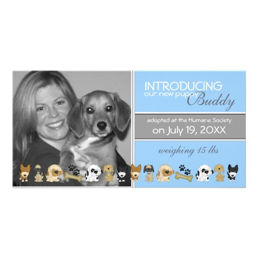 New Dog Adoption Announcement Photo Card Template