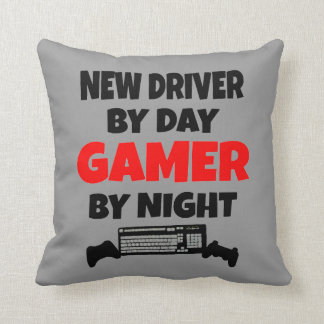 New Driver by Day Gamer by Night Throw Pillow