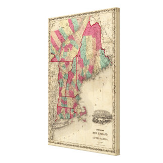 New England and Lower Canada Canvas Print