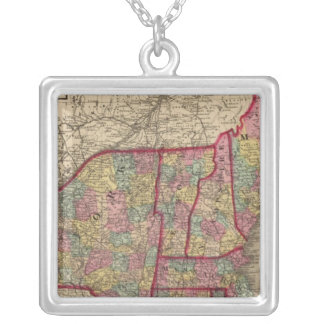 New England and New York Silver Plated Necklace