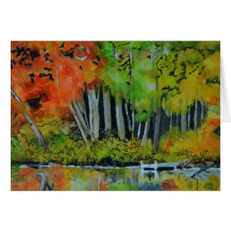 New England Autumn Pond Blank Card