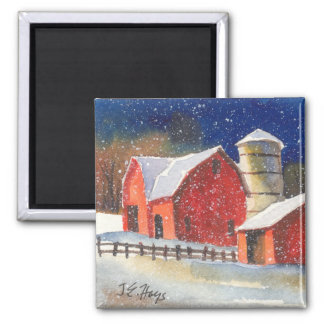 New England Barns Square Magnet