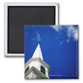 New England Church Steeple with a Royal Blue Sky Square Magnet