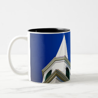 New England Church Steeple with a Royal Blue Sky Two-Tone Coffee Mug