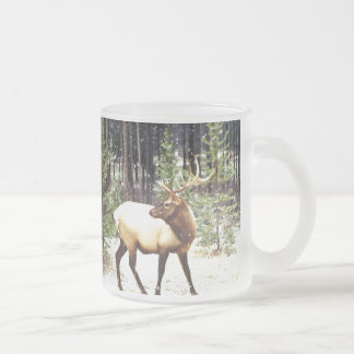 NEW ENGLAND DEER FROSTED GLASS COFFEE MUG