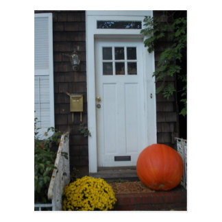 New England Door in the Autumn Postcard