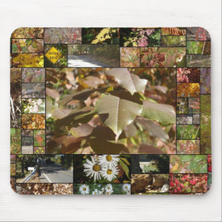 New England Fall Collage Mouse Mat