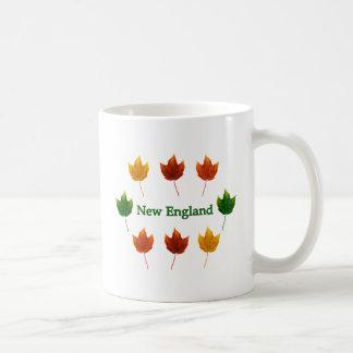 New England Fall Leaves Basic White Mug