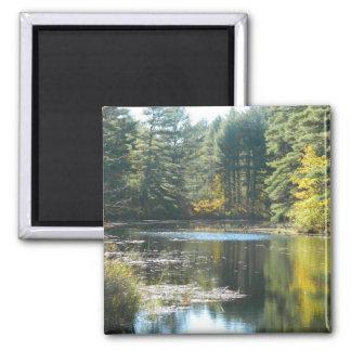 New England Fall Pond Fridge Magnets
