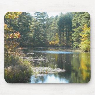 New England Fall Pond Mousepads