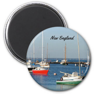 New England Harbor Boats 6 Cm Round Magnet