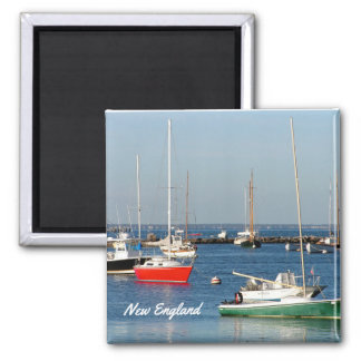 New England Harbor Boats Square Magnet