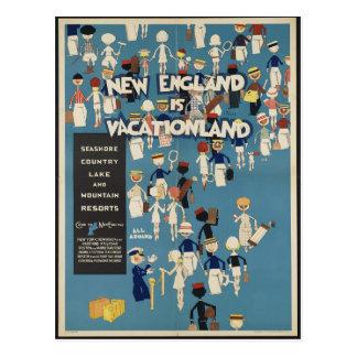 New England is Vacationland VintageTravel Postcard