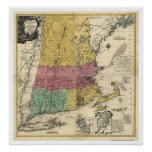 New England Map - 1777 Poster