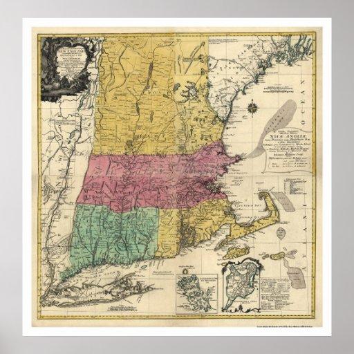 New England Map - 1777 Print