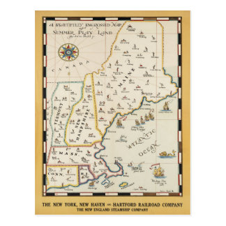New England Map Travel Poster Postcard
