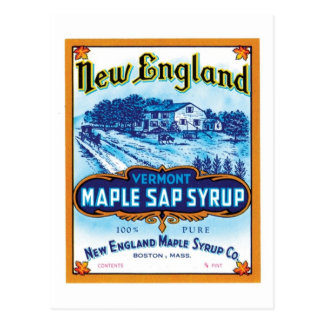 New England Maple Sap Syrup Ad Post Card