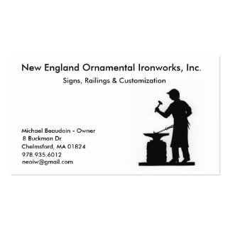 New England Ornamental Ironworks Pack Of Standard Business Cards