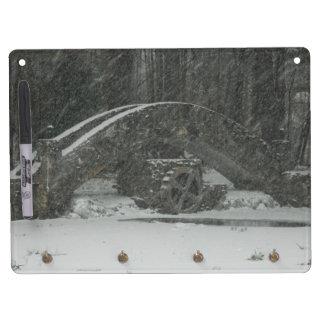 New England Snowy Bridge Dry Erase Board