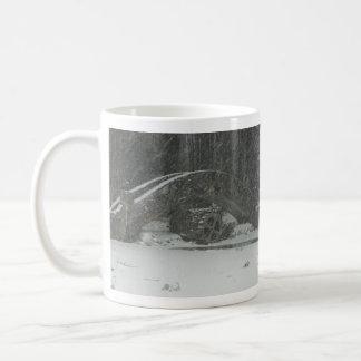 New England Snowy Bridge Mugs