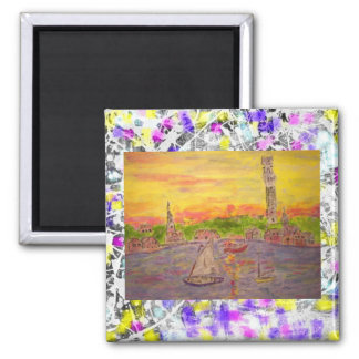 new england sunset drip square magnet