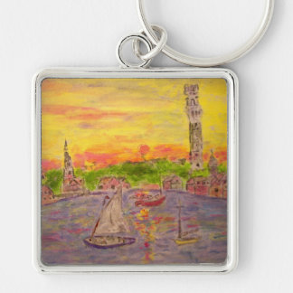 new england sunset Silver-Colored square key ring