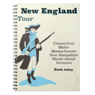 New england Tour vintage travel poster Spiral Note Book