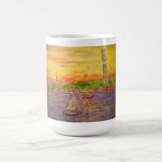 new england village sunset basic white mug