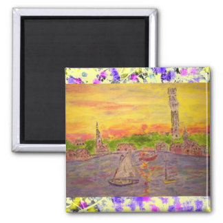 new england village sunset drip square magnet