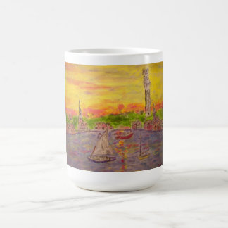 new england village sunset classic white coffee mug