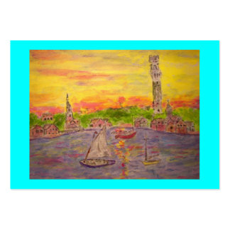 new england village sunset pack of chubby business cards