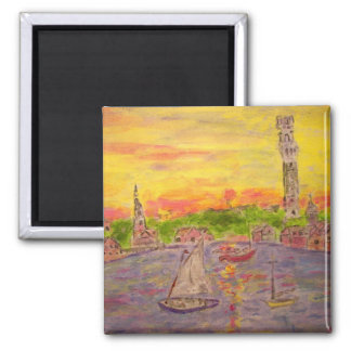 new england village sunset square magnet