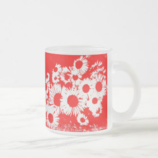 New England Wild Aster - Red 10 Oz Frosted Glass Coffee Mug