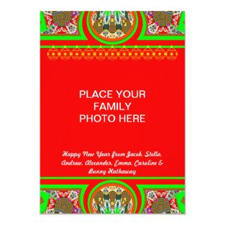 New  Family Photo Happy New Year Holiday Card 13 Cm X 18 Cm Invitation Card