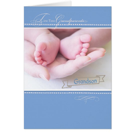 New First Time Grandparents, Grandson, Blue Congr Card