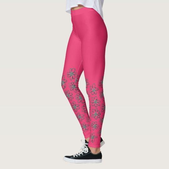 New floral Yoga zazzle leggings : Fresh pink!