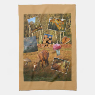 New Forest autumn montage teatowel Hand Towels