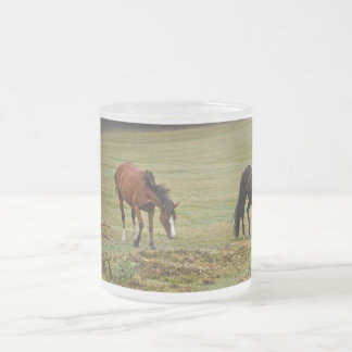 New Forest Ponies of Hampshire England Frosted Glass Mug
