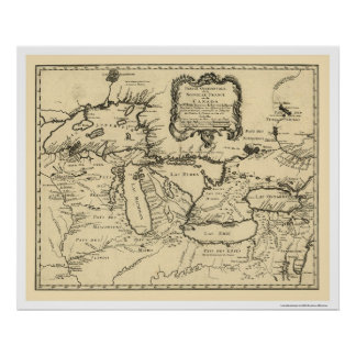 New France Canada Map 1755 Poster