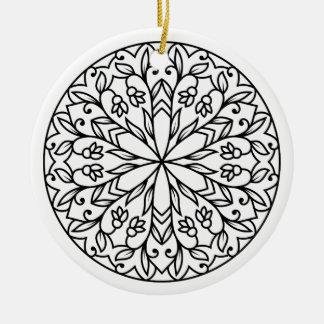 New fresh hand-drawn Mandala art Round Ceramic Decoration