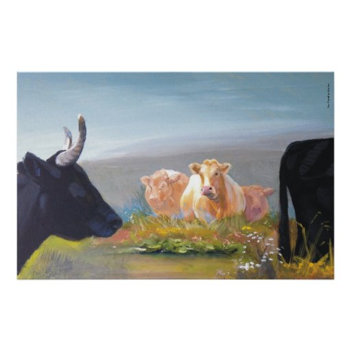 New Friends cows on dartmoor painting Posters