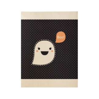 New! Ghost with Boo sign on wood