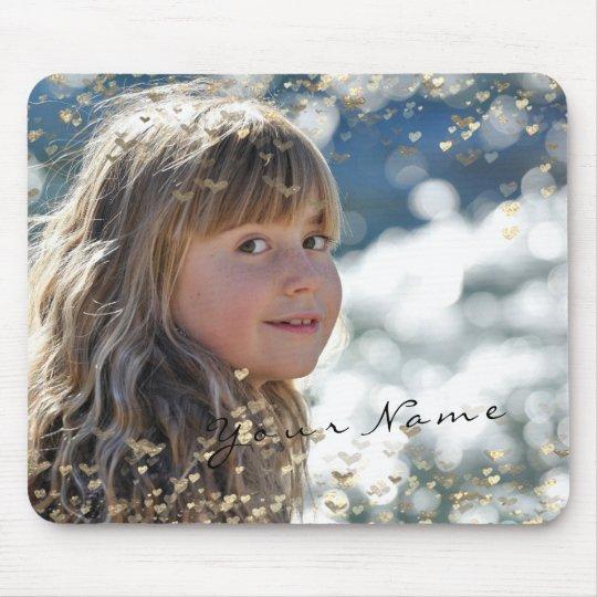 New Girl Child Photo Golden Confetti Hearts Sweet