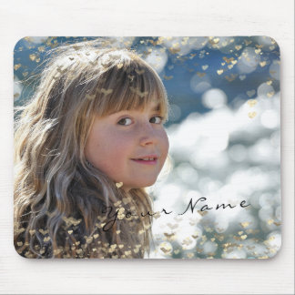 New Girl Child Photo Golden Confetti Hearts Sweet Mouse Pad