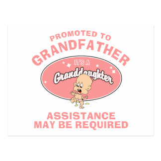 New Granddaughter Promoted To Grandfather Postcard