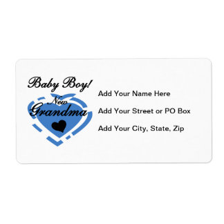 New Grandma Baby Boy Blue Heart Gifts Shipping Label