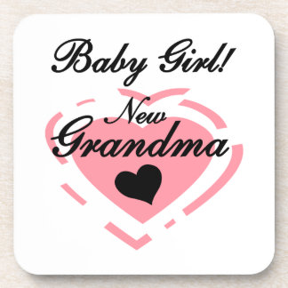 New Grandma Baby Girl Pink Heart Gifts Beverage Coaster