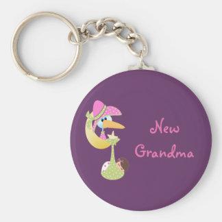 New Grandma Basic Round Button Key Ring